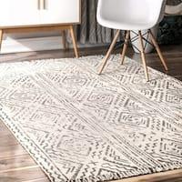 nuLOOM Grey Handmade Flatweave Contemporary Native Geo Trellis Print Tassel Area Rug