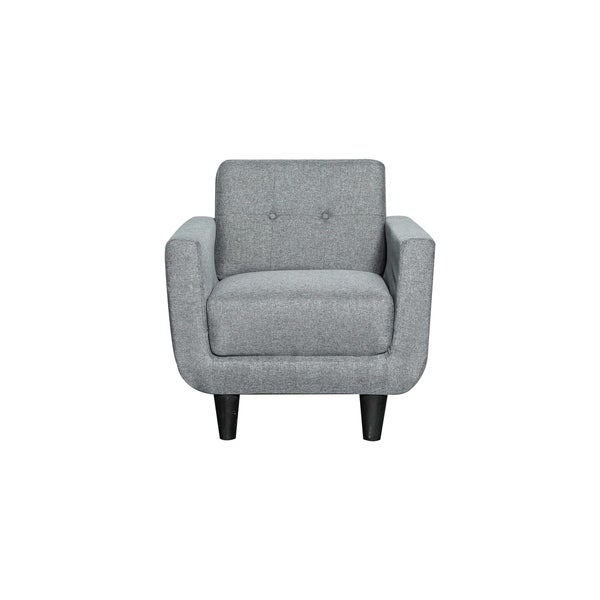 Shop Grey Linen Fabric Upholstered Mid Century Accent Chair Free