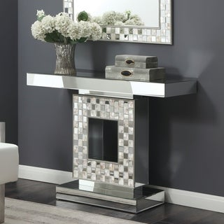 Furniture of America Anais Mother of Pearl Mirrored Console Table