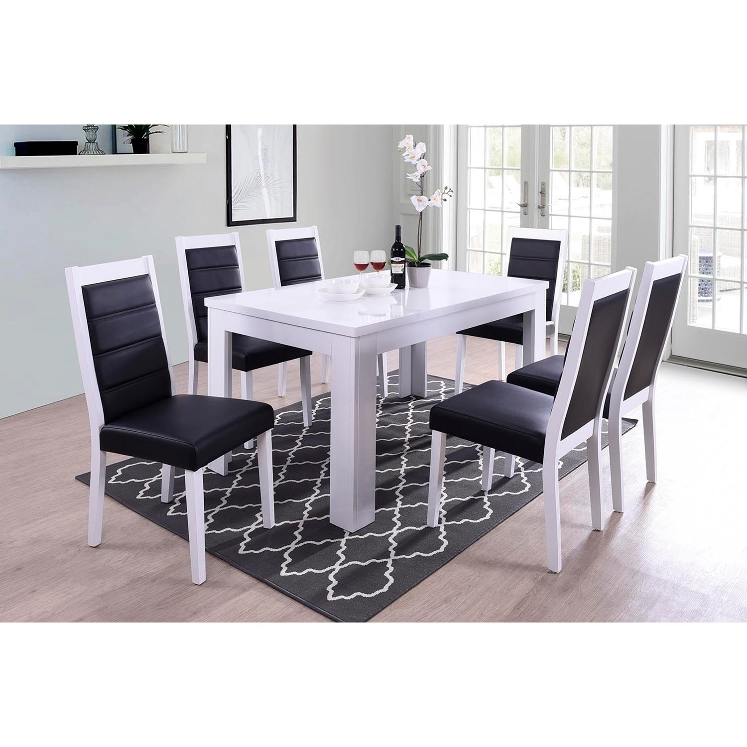 Shop Indoor Black And White Modern 7pc Dining Set With A Solid Wood Rectangular Dining Table And 6 Upholstered Dining Chairs Overstock 23507526