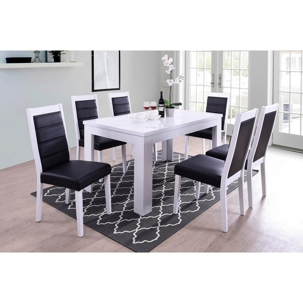 Shop Indoor Black And White Modern 7pc Dining Set With A