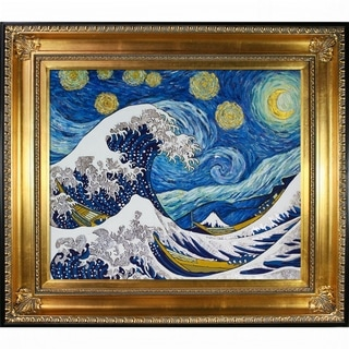 La Pastiche Original 'Starry Night Wave Collage' (Luxury Line) Hand Painted Oil Reproduction