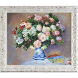 Pierre-Auguste Renoir 'Chrysanthenums and Japanese Fan' Hand Painted Oil Reproduction