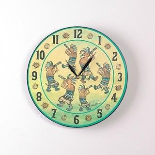 Dancing Kokopellis 12 Inch Round Clock
