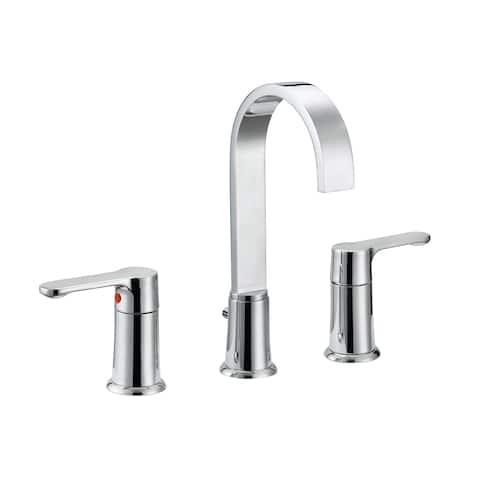 "Safavieh Solea Placid Stainless Steel Widespread Dual Handle Bathroom Faucet - 14.9"" x 5.7"" x 10"""