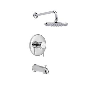 Safavieh Solea Evoke Round Bathtub and Shower Faucet Set with Slim Lever Handle - Chrome