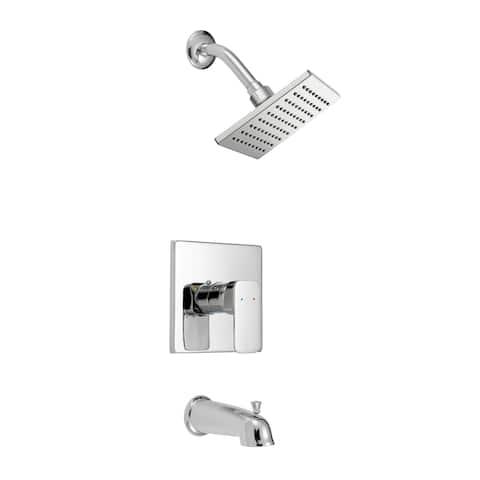 Safavieh Solea Paradise Square Bathtub and Shower Faucet Set with Single Lever Handle - Chrome