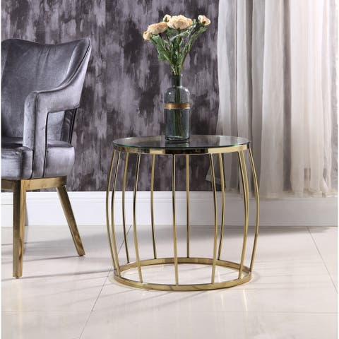 Chic Home Robson Side Table Bowed Spindle Round Base Glass Top