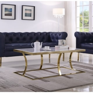 Chic Home Nessa Coffee Table Marble Look Finish Rectangular Frame