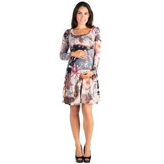 24/7 Comfort Apparel Long Sleeve Knee Length Maternity Dress