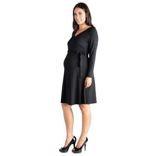 24/7 Comfort Apparel V-Neck Long Sleeve Maternity Wrap Dress