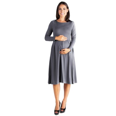 24/7 Comfort Apparel Long Sleeve Maternity Midi Dress