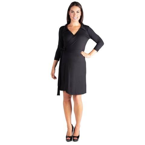 24/7 Comfort Apparel V-Neck 3/4 Sleeve Maternity Wrap Dress
