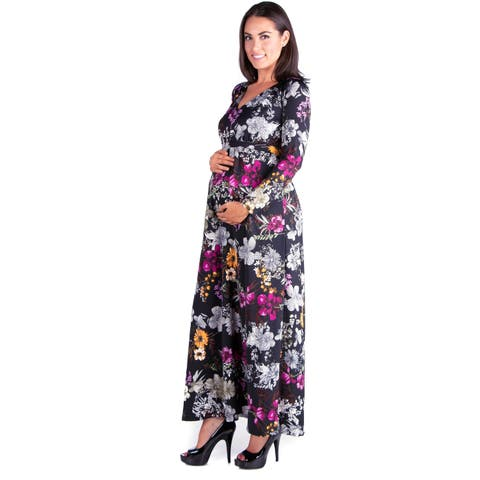 24/7 Comfort Apparel Long Sleeve Maternity Maxi Dress