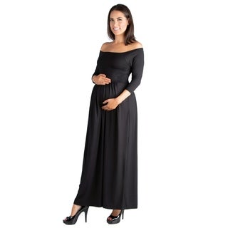 24/7 Comfort Apparel Off Shoulder Maternity Maxi Dress