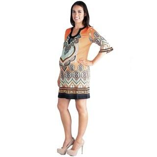 24/7 Comfort Apparel 3/4 Length Sleeve Maternity Tunic Dress