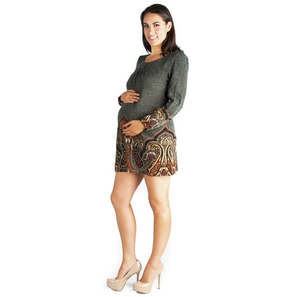 24/7 Comfort Apparel Long Sleeve Maternity Mini Sweater Dress