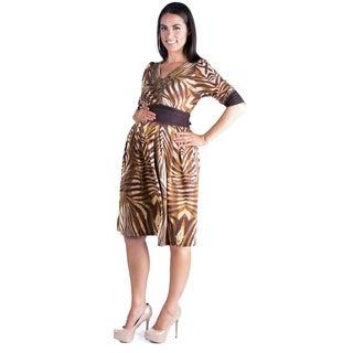 24/7 Comfort Apparel Maternity Brown 3/4 Sleeve A-line Dress