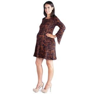 24/7 Comfort Apparel Flared Sleeve Knee Length Maternity Sweater Dress