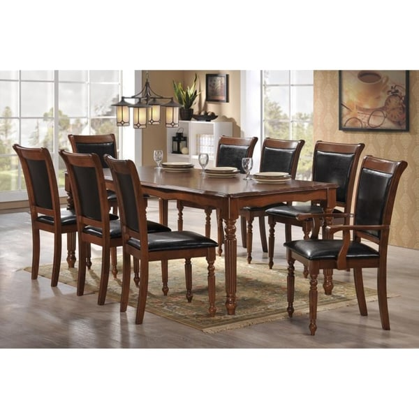 Shop Indoor Black And Brown Traditional 9pc Dining Set
