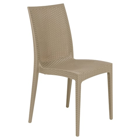 LeisureMod Mace Weave Design Indoor Outdoor Dining Chair in Taupe