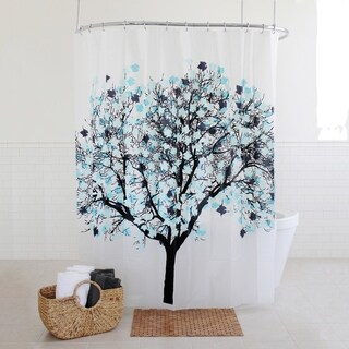 "Splash Home Foilga PEVA Shower curtain, 72"" x 70"", Blue"