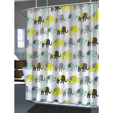"Splash Home Elephant Peva Shower curtain, 72"" x 70"", Aqua"