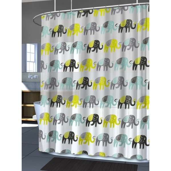 Splash Home Elephant Peva Shower Curtain 72 X 70 Aqua Free Shipping On Orders Over 45 23508823