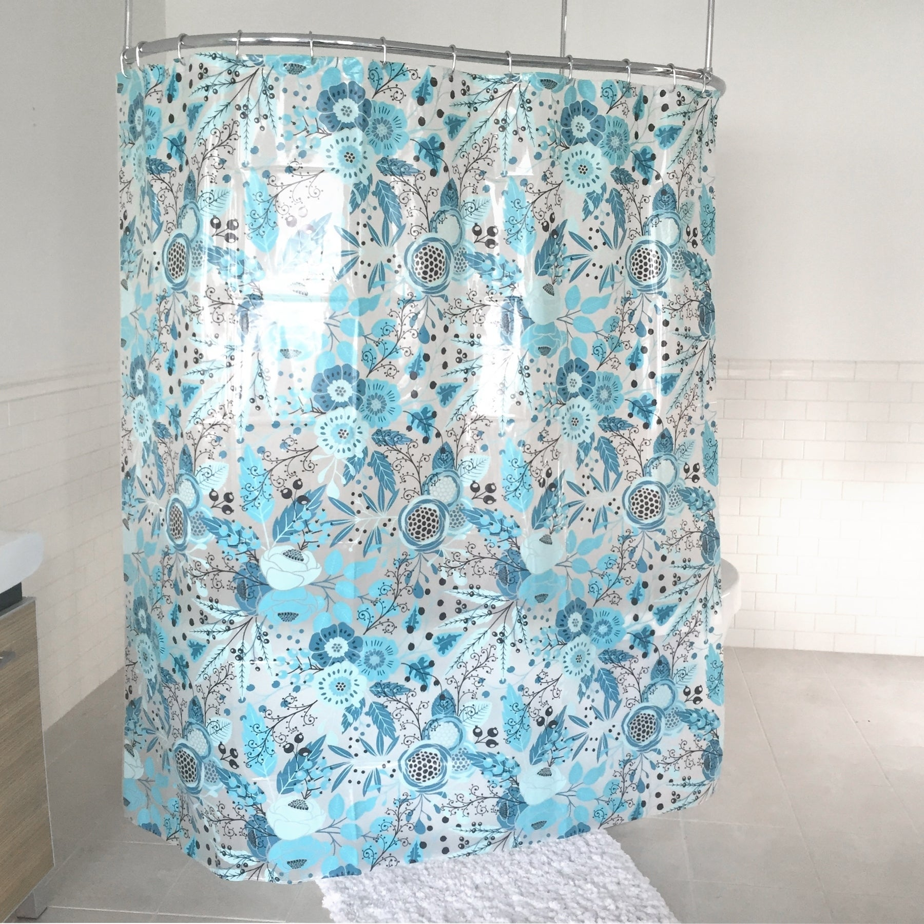 Details About Splash Home Forever PEVA Shower Curtain 72 X 70 Blue