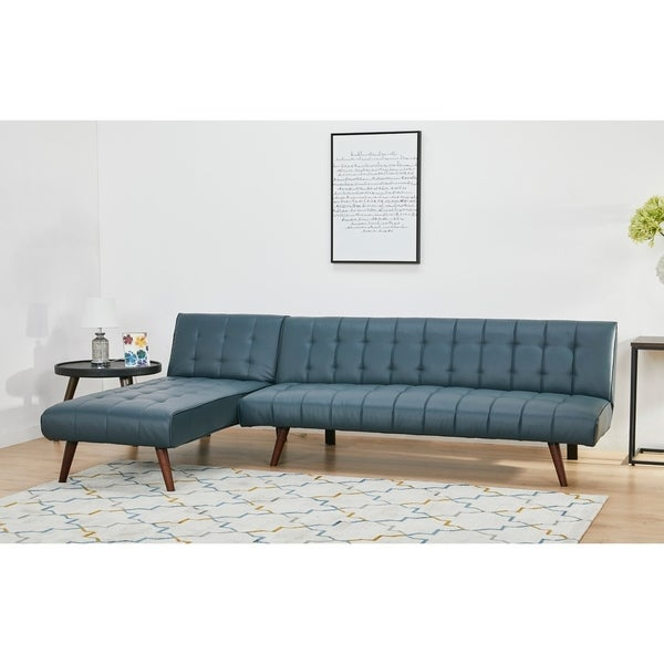 Shop Shelton Smoke Convertible Sectional Sofa Bed - Free ...