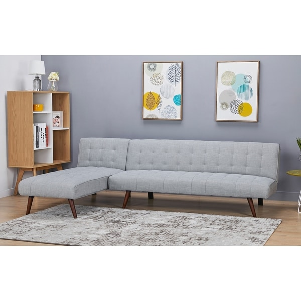 Shop Shelton Sand Convertible Sectional Sofa Bed - Free Shipping ...