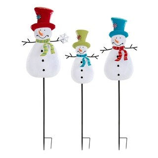 Whimsy Black and White Christmas Snowman Yard Stakes (Set of 3)