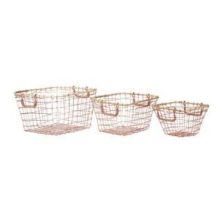 Carley Posh Pink Metal Baskets (Set of 3)