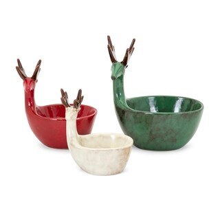 Homestead Multi-color Christmas Reindeer Dishes (Set of 3)