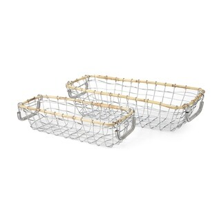 Meyer Posh Silver Metal Baskets (Set of 2)