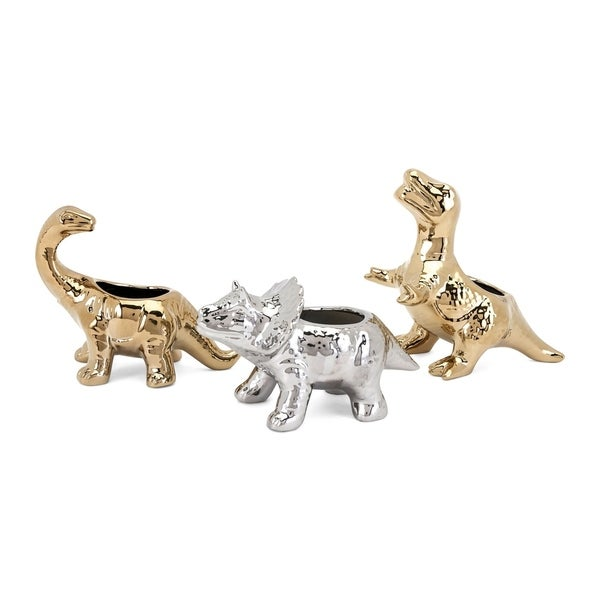 Metallic Silver and Gold Dinosaur Statuaries (Set of 3)