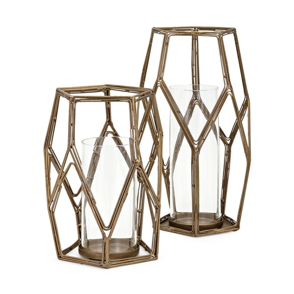 Artesmo Gold and Clear Candle Holders (Set of 2)