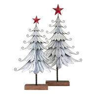 Homestead Brown Christmas Galvanized Trees (Set of 2)