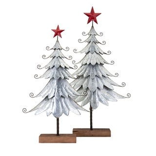 Homestead Brown Christmas Galvanized Trees (Set of 2)