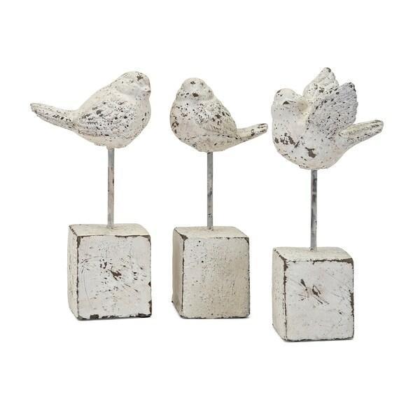 Trisha Yearwood Metallic White Nightingale Birds (Set of 3)