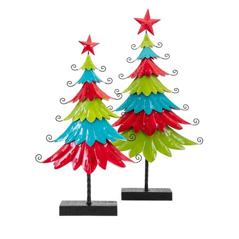 Whimsy Black Christmas Metal Trees (Set of 2)