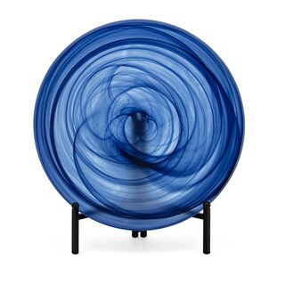 Nicolla Black Gradient and Blue Glass Charger with Stand