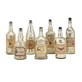 Apothescary Halloween Gold Vintage Label Glass Bottles (Set of 7)