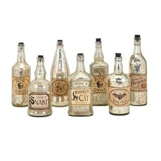 Apothescary Halloween Gold Vintage Label Glass Bottles (Set of 7)