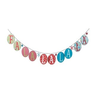 Whimsical Multi-color Christmas Fa La La La Banner with Gift Box