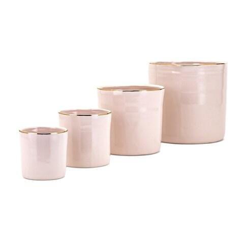 Beatha Pink Real Gold Trim Planters (Set of 4)