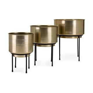 Bladdo Black and Smooth Brass Planters on Stand (Set of 3)