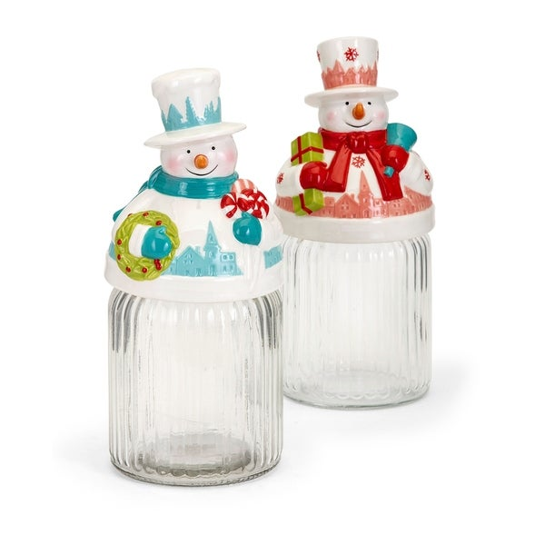 Whimsy Christmas Clear and Multi-color Snowman Jar - Ast 2