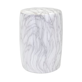 Marella Grey and White Ceramic Garden Stool