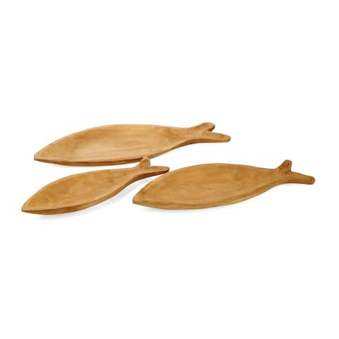 Aseana Natural Wood Fish Trays (Set of 3)